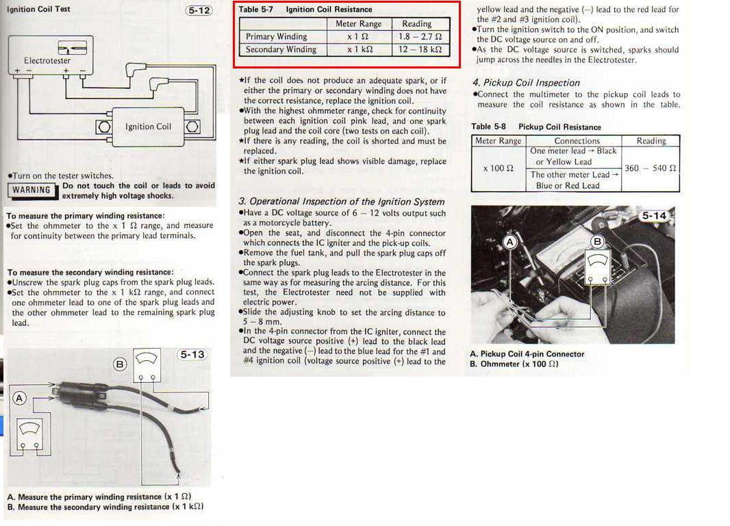 Help Power To Coils But No Spark Kzrider Forum Kz Kawasaki Gpz1000rx Wiring Diagram Kz650ignitioncoilresistancemeasurements